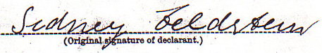 Sidney Feldstein Signature, Declaration of Intention