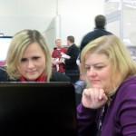 Caroline Pointer and Amy Coffin, hard a work
