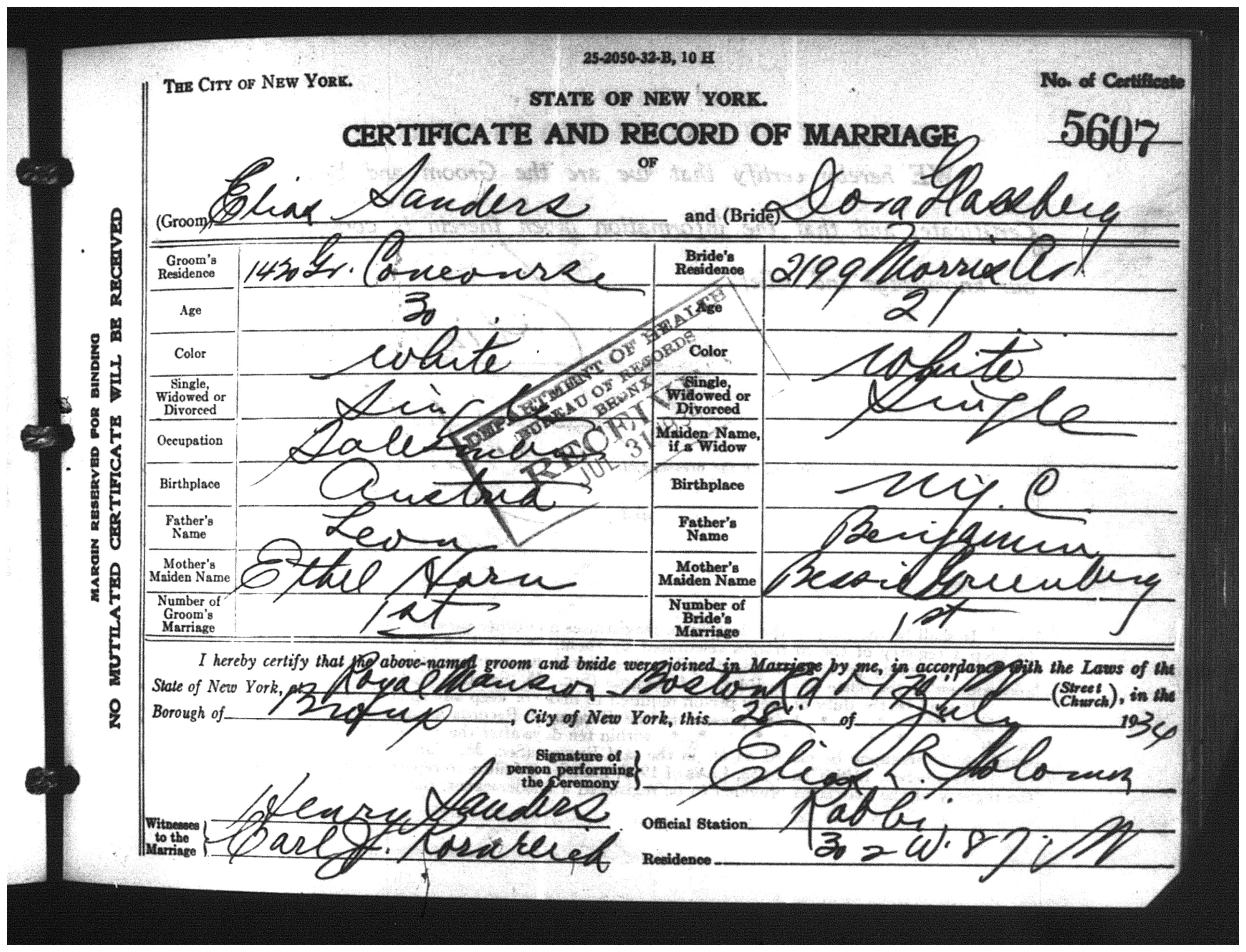 The genealogy of bernie sanders part 1 the ginger jewish nyc marriage certificate bronx county 28 july 1934 cert 5607 fhl yelopaper Images