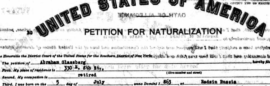 Abraham Glassberg, Petition for Naturalization, Southern District of New York, 1927