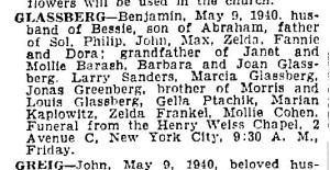 Benjamin Glassberg, Obituary, The New York Times, 1940, via ProQuest