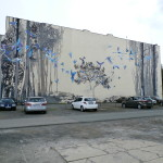 Mural over a parking lot